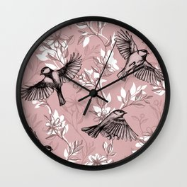 Flowers and Flight in Monochrome Rose Pink Wall Clock