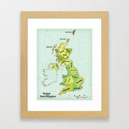 Regions of the United Kingdom Colour version. Framed Art Print
