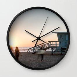 Sunset at the beach in Santa Monica, California Wall Clock