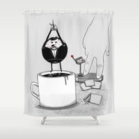 doughnut Shower Curtains featuring Doughnut Agent by OneAngryBear