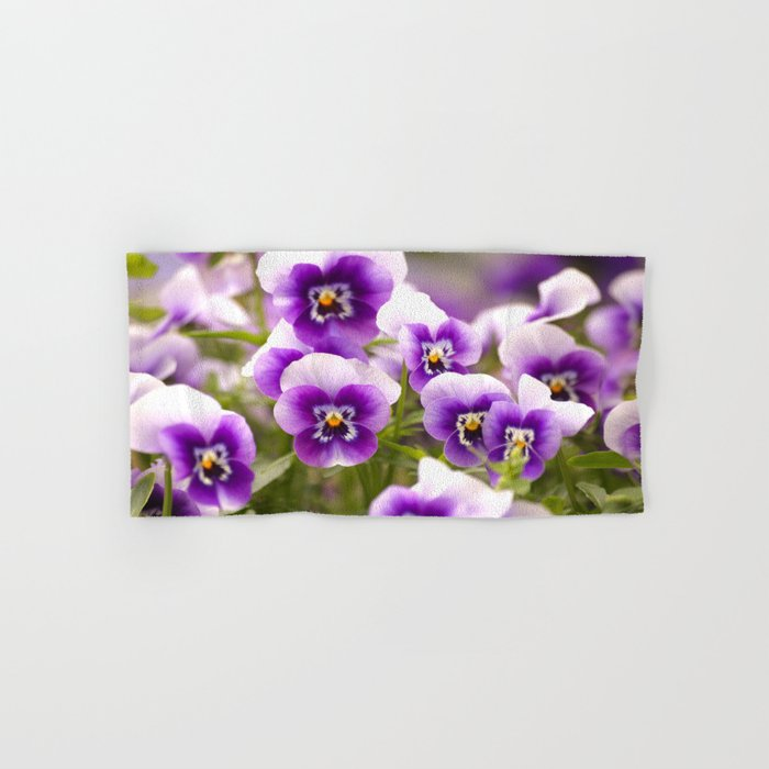 Wonderful Pansies Purple Flowers #decor #society6 Hand & Bath Towel