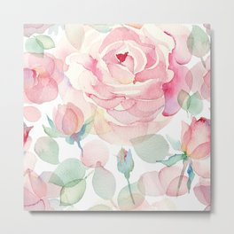 Watercolor English roses seamless pattern. Metal Print