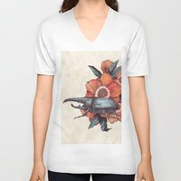 hercules V-neck T-shirts featuring Hercules Beetle by Angela Rizza