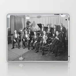 Vintage black and white photo of orchestra Laptop & iPad Skin