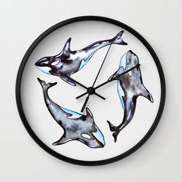 Watercolor killer whales Wall Clock