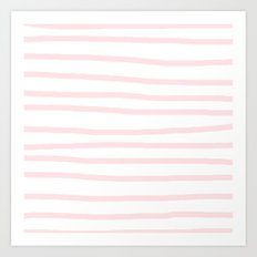 Simply Drawn Stripes in Pink Flamingo Art Print