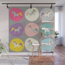Cute Unicorn polka dots grey pastel colors and linen texture #homedecor #apparel #stationary #kids Wall Mural