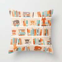 library Throw Pillows featuring Library cats by Heleen van Buul
