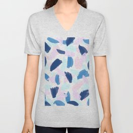 Blue and Pink Paint Unisex V-Neck