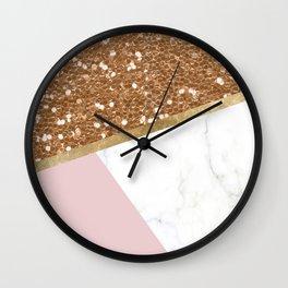 Glittering golden marble geo Wall Clock