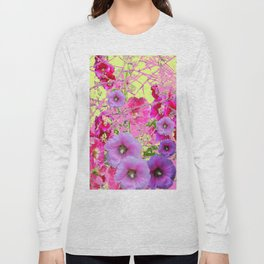 CONTEMPORARY PINK & LILAC HOLLYHOCKS ART Long Sleeve T-shirt