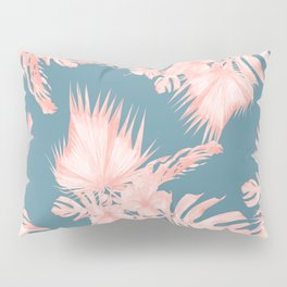 Tropical Palm Leaves Hibiscus Flowers Pink Blue Pillow Sham