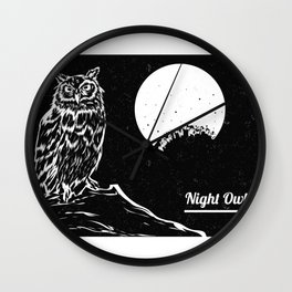 Night Owl - Full Moon and Owl in Tree Branch Wall Clock