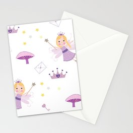 Cute Fairytale Pattern With Stars, Mushroom and Magic Wand Pattern Stationery Cards