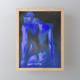 Beautiful Young Woman Wearing Plaits and Panties (Blue) Framed Mini Art Print