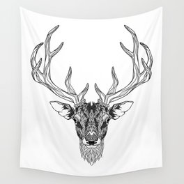DEER head. psychedelic / zentangle style Wall Tapestry