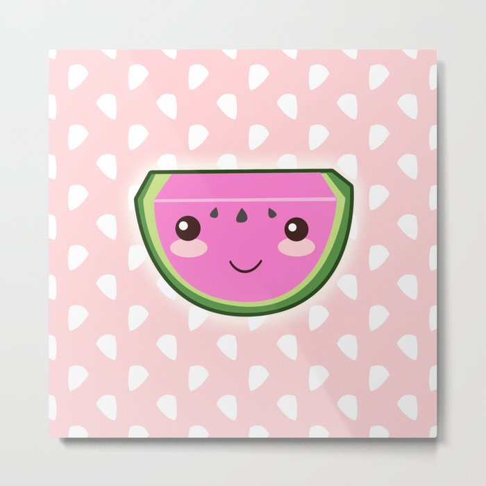 Kawaii Watermelon Metal Print