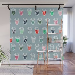 Modern cute Christmas coffee cups pattern illustration pastel blue ice Wall Mural