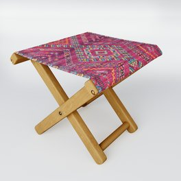 N118 - Pink Colored Oriental Traditional Bohemian Moroccan Artwork. Folding Stool