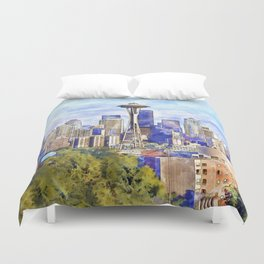 Seattle View in watercolor Duvet Cover