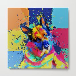 German Shepherd Dog - Pop Art color splash Metal Print