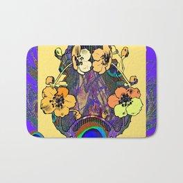 Decorative  Modern Floral Purple-cream Peacock art Bath Mat