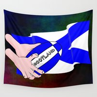 scotland Wall Tapestries featuring Rugby Scotland Flag by mailboxdisco