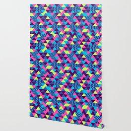 Vintage Retro 1980s 80s Nights New Wave Triangular Print Wallpaper