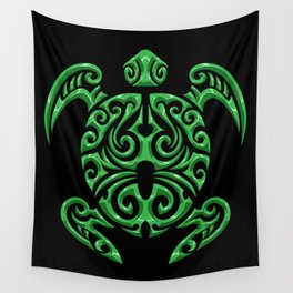 Green Maori Tribal Turtle - Sea Animals Wall Tapestry