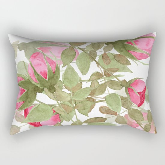 The buds of tender roses on a white background . Retro . Rectangular Pillow