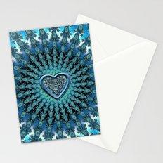 Celtic Heart Knot Fractal Mandala Stationery Cards