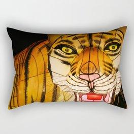 Glowing Chinese tiger lantern at night Rectangular Pillow