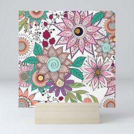 Stylish floral doodles vibrant design Mini Art Print