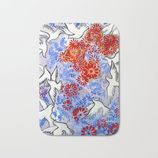 Floral Doves Bath Mat