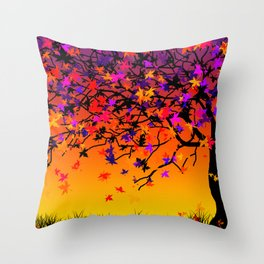 The Scent Of Halloween Autumn Tree Throw Pillow