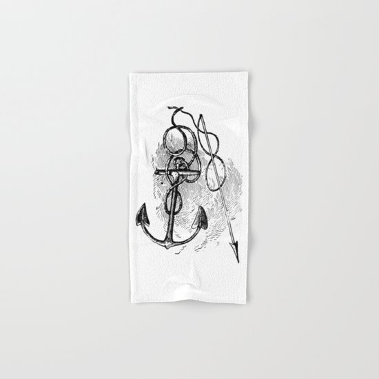 Anchor and harpoon. Hand & Bath Towel