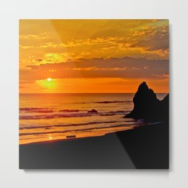 Arcadia Beach Sunset, Oregon   Metal Print