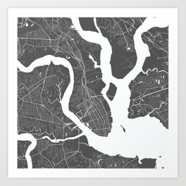 Charleston USA Modern Map Art Print Art Print