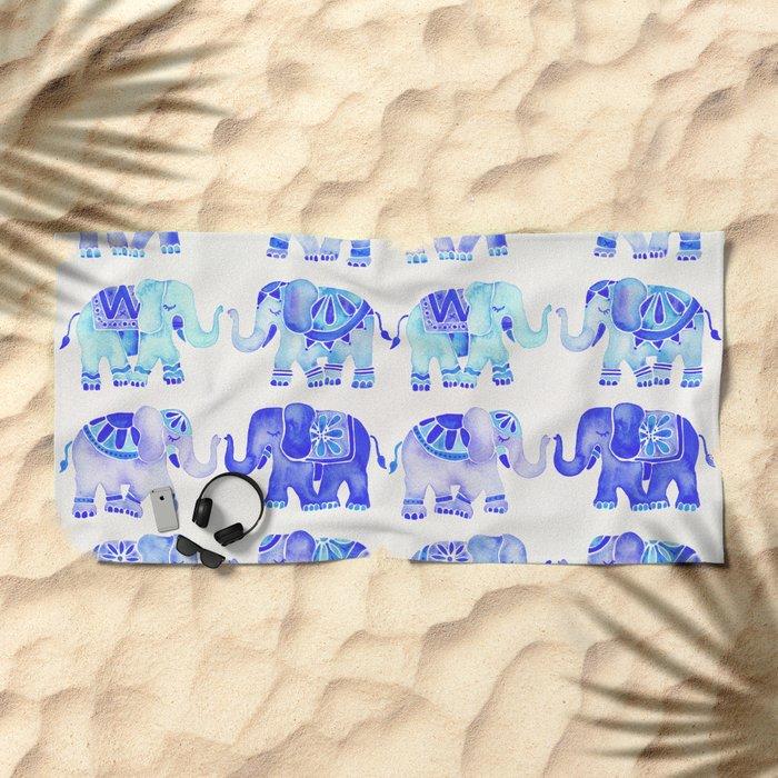 Elephants – Blue Palette Beach Towel