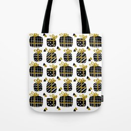 Black and Gold Giftboxes Pattern Tote Bag