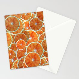 Orange slices arranged atop each other Stationery Cards