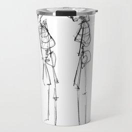 Black Ink Illustration of Two Human Skeletons Travel Mug