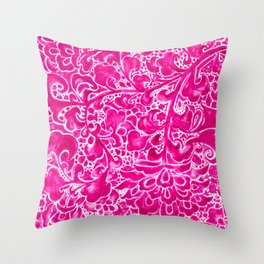 Watercolor Chinoiserie Block Floral Print in Magenta Pink Porcelain Tiles Throw Pillow