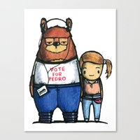 napoleon dynamite Canvas Prints featuring Napoleon Dynamite Is A Bear.  by vcky