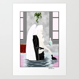 bath with coots Art Print