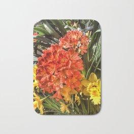 Orange Spring Flowers and Yellow Daffodils Bath Mat