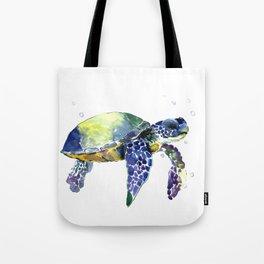 Sea Turtle, Beach Art, Nautical Aquatic Underwater Scene Blue Green Turtle Tote Bag