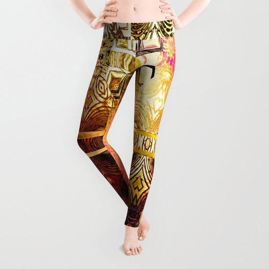 1001 Lights Pattern (gold-magenta-vermillion) Leggings