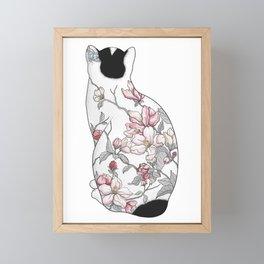 Cat in Apple Blossom Tattoo Framed Mini Art Print