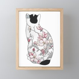 Cat in Apple Blossom Tattoo Framed Mini Art Print
